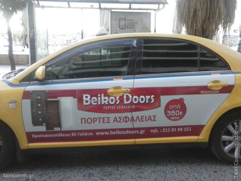 Διαφήμιση σε ταξί - taxi ad, Beikos Doors, by TAXI Communications Advertising Agency - taxicomm.gr